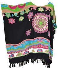 Vibrant Abstrait Modèle Caftan Taille unique Ladies Blouse T-Shirt Clair Poncho