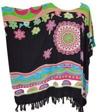 Vibrant Abstract Design Kaftan Top Freesize Ladies Blouse T-Shirt Bright Poncho