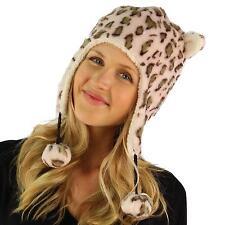 Faux Fake Fur Animal Print Leopard Trooper Trapper Fleece Ski Pom pom Hat Pink
