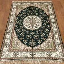 YILONG 4'x6' Hand Knotted Persian Silk Carpet Green Indoor Area Rug WY381C