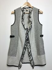 CHICO'S BLACK WHITE OPEN FRONT KNITTED VEST CARDIGAN FALL WINTER WOMENS SMALL 0