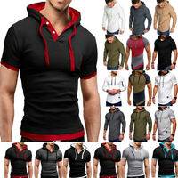Mens Slim Fit Athletic Gym Muscle Hoodies T-shirt Tee Tops Sports Blouse Hooded