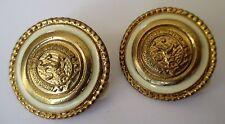 boucles d'oreilles bijou vintage clip couleur or émail beige élégantes  304