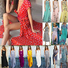 UK Women's Vintage Spotted Short Sleeve Long Maxi Dress BOHO Holiday Party Dress