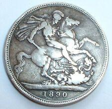 1890 Britain - Silver One Crown 5 Shillings - Queen Victoria - NO RESERVE