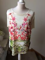 TED BAKER Floral Print Top T-shirt Size 4 (14) Short Sleeve Loose Fit Orchid