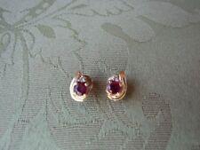 Ruby Stud Earrings w/ Diamond Accents in 14 kt. Gold