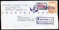 HONDURAS TO URUGUAY Air Mail Registered Cover VF