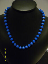 "Bright Blue Lucite Round Bead Strung Necklace Vintage 60cm (24"") 1980s Madonna"