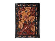 Nocona Men's Black & Tan Floral Embossed Trifold Leather Wallet N5499067