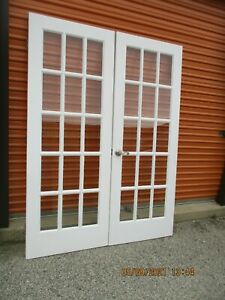 """INTERIOR FRENCH DOORS 15 PANES GLASS 5 FT X 79"""" CAN SHIP!!!!"""