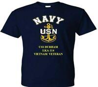 USS DURHAM  LKA-114  VIETNAM VINYL & SILKSCREEN NAVY ANCHOR SHIRT/SWEAT