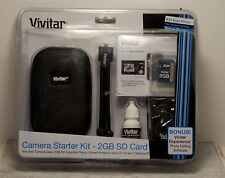 New Vivitar Camera Starter Kit 6 Piece Camera Case 2 GB SD Card, mini tripod NIP