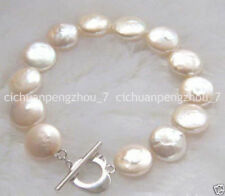 "12mm Natural Coin Freshwater Akoya Pearl Bracelet Bangle 7.5"" C3100"