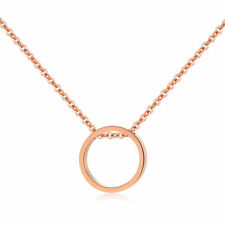 Circle Rose Gold Plated Clavicle Stainless Steel Pendant Chain Necklace Quality
