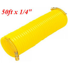 "50ft x 1/4"" Recoil Air Hose Re Coil Spring Ends Pneumatic Compressor Tool 200psi"