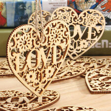 10X Wooden Shape Love Heart Wedding  Hanging Decoration Craft Embellishment DSUK