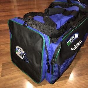 Vtg 80s 90s SEATTLE SEAHAWKS Football GYM BAG Duffle Retro Shoulder Bag Pockets