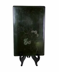 Antique Carved Incised Green Lacquer Document Box w/Chrysanthemum Marked Burmese