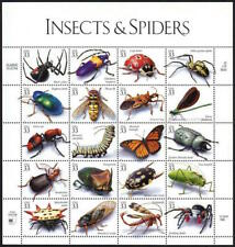 Mint Sheet 20 Insects & Spiders Stamps Bugs Beetles Flies Cicada Ant Caterpillar