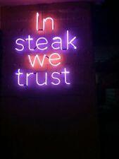 "New In Steak We Trust Bar Pub Decor Acrylic Neon Light Sign 17""x17"""