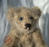 "MINIATURE artist TEDDY grey mohair ROOSEVELT BEAR CO 4"" by Cathy Peterson OOAK"