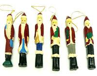 "Vintage 1995 Holiday Boutique 6"" WOODEN SANTA FIGURINES Ornaments - SET OF 6"