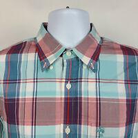 Brooks Brothers Red Fleece Red Blue Plaid Mens Dress Button Shirt Size Medium M