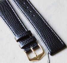 Lizard print stitched leather 20mm vintage watch band calf-lined Hirsch 1960/70s