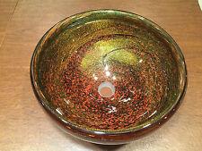 """NEW ROBERT JONES 2007 """"AUTUMN BRONZE"""" Murano Art Glass Brown Copper VESSEL SINK"""