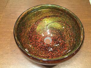 NEW ROBERT JONES AUTUMN BRONZE Murano Art Glass Brown Copper VESSEL SINK Bowl