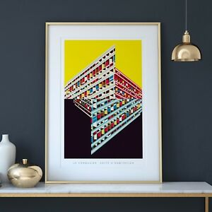 Le Corbusier's Unité d'habitation Illustrated Art Print. Brutalist Architecture.