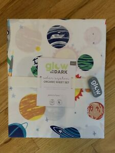 NWT POTTERY BARN KIDS Solar System Glow in the Dark FULL Sheets Set