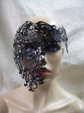 Black Metal Filigree Half Skull Phantom Eye Mask Green Stones Masquerade Opera