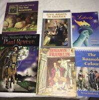 Vintage History Childrens Books Homeschool Teacher Non Fiction HC Lot of 6