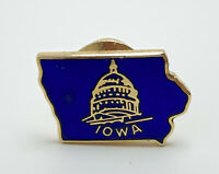 Vintage Iowa State Capitol Lapel Pin Tie Tack - Gold Tone Blue Enamel Background