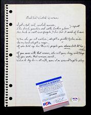 1970's RARE! JOHNNY WINTER Handwritten UNPUBLISHED? Song Lyrics with PSA/DNA COA