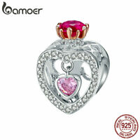 BAMOER Women S925 Sterling silver Charms Inborn queen & CZ Fit Women Bracelets