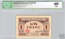 TERRITOIRE DU CAMEROUN 1 FRANC ND (1922) PICK 5 RARE QUALITE ICG 40 VF/EF !!!!