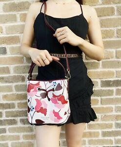 Kate Spade Eva Small Bucket Bag Crossbody Satchel Nouveau Bloom Pink Floral Red