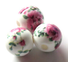 25pcs 12mm Round Porcelain/Ceramic Beads - White / Dark Pink Roses