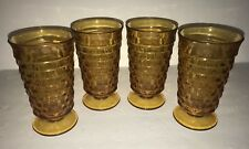 4 Fostoria American Amber Glass 6 inch Footed Ice Tea Water Glasses Cube 12 Oz.