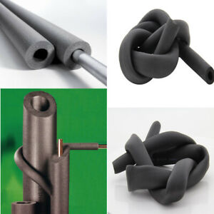 ID6~25mm Foam Pipe Insulation Air Conditioner Heat 5.91Ft Hose Pipe Black 9mm T