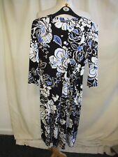 Ladies Dress BHS UK 12, EUR 40 black/white viscose with stretch, wrap style 2478