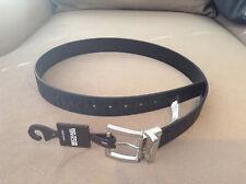 MICHAEL KORS Reversible BELT Black WITH PRINTED MK LOGO Silver BUCKLE Size L