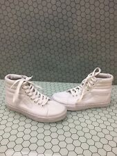 VANS Sk8 Hi Classic All White Canvas Lace Up Skate Shoes Mens Size 4  Womens 5.5