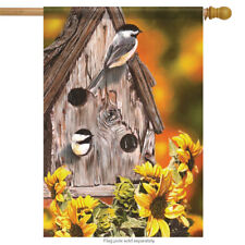 "Autumn Chickadees Birdhouse House Flag Autumn Floral 28"" x 40"" Carson"