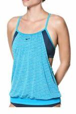 NWT Women's Nike Layered Striped Sport Tankini Top Choose Size Blue