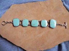Large Turquoise & Sterling Silver .925 link Bracelet Taxco Mexico signed RPJ