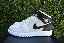 NIKE AIR JORDAN 1 MID GS SZ 7 Y LIGHT BONE METALLIC GOLD BLACK WHITE 554725 023